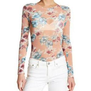 Lush Floral Printed Mesh Bodysuit Blouse Leotard
